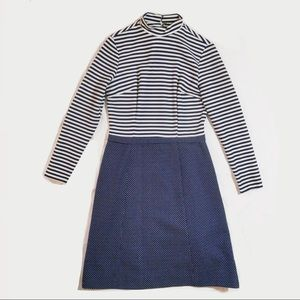 Vintage 1960s Mod Dress Striped Mock Neck Medium